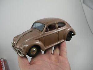 Vintage 1960s Bandai Volkswagen Beetle Friction Tin Litho Toy VW Car Rare Color