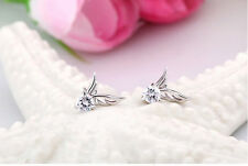 Ohrstecker Engelsflügel Engel Flügel aus 925 Sterling Silber mit Kristall weiß