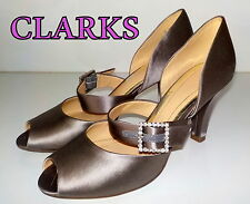 "Fabulous ""CLARKS"" Grey Taupe Satin  LEATHER  Peep Toes  Shoes  UK 5  EU 38  £60"