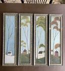 WARREN KIMBLE FOUR SEASONS FOLK ART Summer Fall Winter Spring Crackled Framed