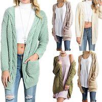 Women Long Sleeve Oversized Knitted Sweater Jumper Cardigan Outwear Coat Jacket