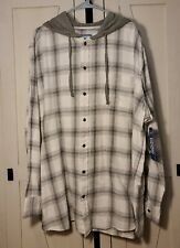 NEW Foundry Big and Tall Mens Hooded buttondown Flannel Shirt 2xl T & 3xl T