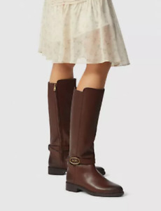 COACH Women's Ruby Horse and Carriage Buckle Leather Boot Size 6.5 B. Walnut