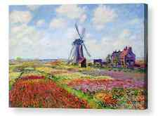 Tulip fields in Holland by Claude Monet CANVAS BOX PRINT A1, A2, A3, A4 SIZE