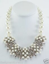 Kenneth Jay Lane light cultural pearl cluster front necklace w/ crystals