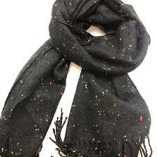 100% Cashmere One Size Germany Scarf Wrap Black Speckled Men's Women's
