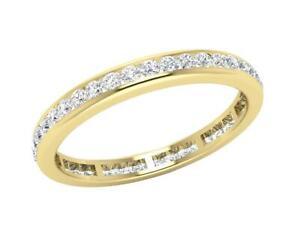Eternity Wedding Ring SI1 G 1.00 Ct Round Diamond 14K Yellow Gold Channel Set