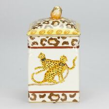 vintage style Porcelain animal cheetah ornate leopard decorative Cat Jar 17.5cm