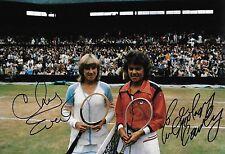 Chris Evert EVONNE GOOLAGONG Ritratto Finale Wimbledon 1980 firmato 12x8 PHOTO