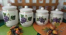 série de 4 bocaux ancien en céramique décorative  motif raisin,feuilles de vigne