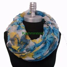 New Women's Light Weight Blue White Flowers Color Infinity Circle Scarves #1