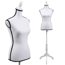 Female Mannequin Torso Dress Clothing Form Display White Tripod Stand New