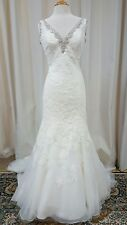 NEW Mori Lee Bridal Gown Wedding Dress 2613 Ivory Fit Flare Mermaid Lace SZ 14