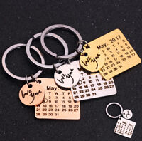 Personalized Calendar Keychain Custom Gift Calendar Highlighted with Heart Date