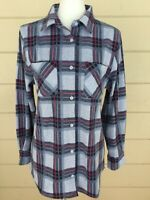 Members Mark Womens Plaid Shirt NWT Medium Blue Top Pink Stripe Buttons Stretchy