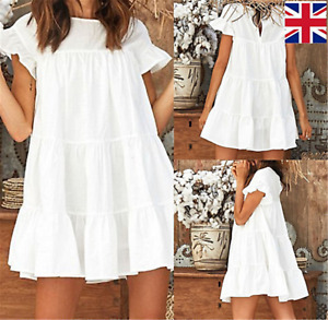 Womens short sleeves Shirt Dress Mini Dress Ladies Casual Tops Blouse Tee UK