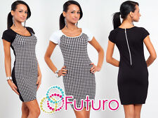 Trendy Women's Checkered Dress Short Sleeve Scoop Neck Tunic Size 8-12 8473