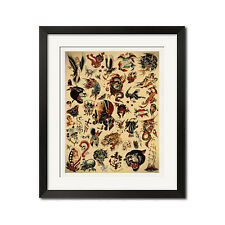 Sailor Jerry x Ed Hardy Old School Vintage Tattoo Flash #2 Poster Print