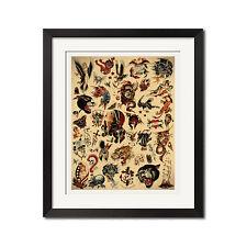 Sailor Jerry x Ed Hardy Old School Vintage Tattoo Flash #2 Poster Print
