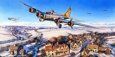 N Trudgian Flying Fortress print Return to Rattlesden signed by 8 B-17 veterans