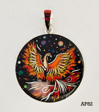 Inlay .925 Sterling Medallion Pendant Handcrafted Phoenix Celestial Opal Spiny