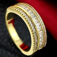9K GOLD GF VICTORIAN SQUARE DIAMOND ANNIVERSARY ETERNITY WEDDING DRESS BAND RING