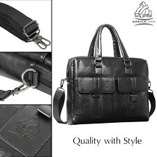 Leather Laptop Bag Men Business Genuine Briefcase Satchel Shoulder Messenger Black