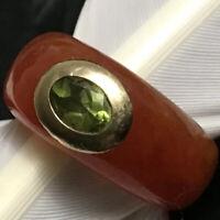 NICE STUNNING ESTATE 14K YELLOW GOLD & PERIDOT CARVED ORANGE JADE RING SIZE 6.75