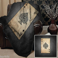 ACE OF SPADES DESIGN SOFT FLEECE BLANKET COVER LARGE CHAIR THROW BED WARM