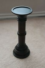 "Pottery Barn Turned Wood Pillar Candle Holder 13"" Tall Espresso"