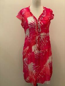 Yarra Trail Pink and White Patterned Dress Size 12