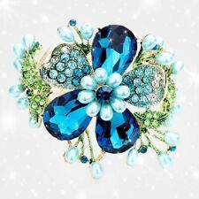 BRACELET Blue flower rhinestone crystal bracelet Teardrop Pearl Floral Stretch