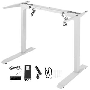 Electric Standing Desk Frame Sit Stand Desk Base Height & Width Adjustable White