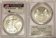 2016 W BURNISHED SILVER EAGLE PCGS SP70 FLAG MERCANTI FDI FIRST DAY OF ISSUE