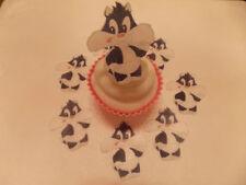 12 PRECUT Commestibili Carta SILVESTRO il gatto per torte / decorazioni per cupcake