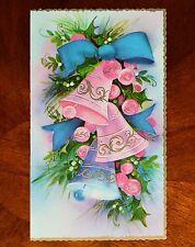 Vintage UNUSED Christmas Card ~ EMBOSSED PINK & BLUE BELLS Mid-Century