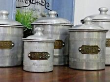 Genuine FRENCH Antique Set of 5 Brass & Aluminium Cannisters Coffee Tea Spices