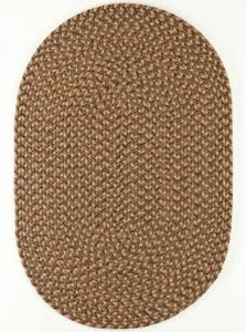Camden Shades of Brown Tweed Country Cottage Home Classic Oval Braided Rug CD36