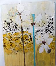 Quadro dipinto fiori gialli bianchi cm 120x100  fiori pop art moderno tela astra