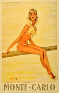 Vintage Poster Print canvas art photo pin up model monte carlo A1 A2 A3