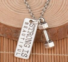Strong Crossfit Charm Jewelry Dumbbell Pendant Chain Necklace Fitness