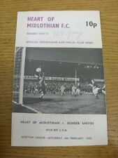 08/02/1975 Heart Of Midlothian v Dundee United  (Writing On Front). Item appears