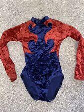 Girls Gymnastics Leotard Long Sleeve Blue Red Crushed Velvet Age 2-3