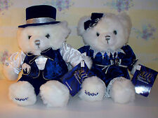 BOY AND GIRL MILLENIUM TEDDY BEARS BLUE VELOUR & SATIN OUTFITS WITH TAGS EUC