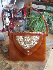 Wilardy Vintage 1950's Lucite Box Purse Bag Tortoise Color w Seashells- As Is