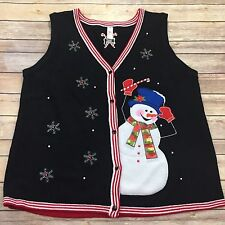 Womens Plus Size XXL 2XL Button Front Embellished Holiday Christmas Sweater Vest