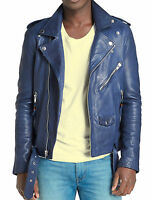 Men's Genuine Lambskin Leather Jacket Blue Slim fit Biker Motorcycle jacket