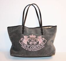 Juicy Couture Tote Bag- Grey Velour w/ Pink Heritage Crest-Black Strap