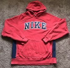 Vtg Nike Men's Red/Navy Hoodie Pullover Sewn Big Logo Sweatshirt Size XL