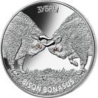 2012 Belarus 20 Rubles European Bison Bisons 1oz silver coin zirconia